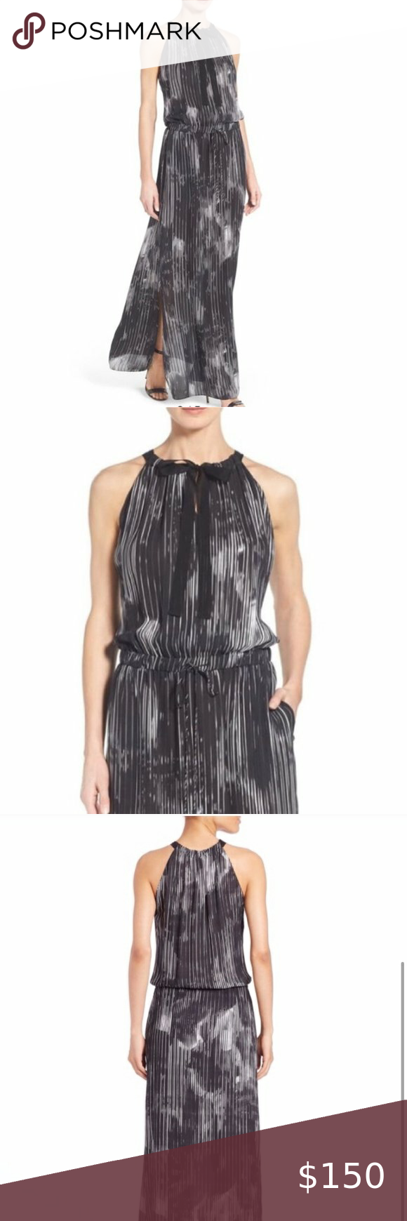 Elie Tahari York Silk Cocktail Maxi Dress Small Maxi Dress Cocktail Comfy Dresses Fashion [ 1740 x 580 Pixel ]