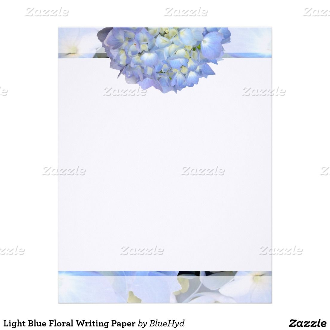 Light Blue Floral Writing Paper Writing Paper
