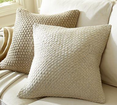 Rustic Luxe Woven Metallic Jute Pillow Cover