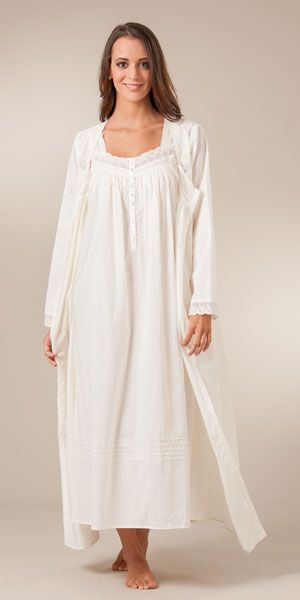 bd2af497a8 Eileen West Peignoir Set - Cotton Lawn Sleeveless Gown and Robe - Valencia