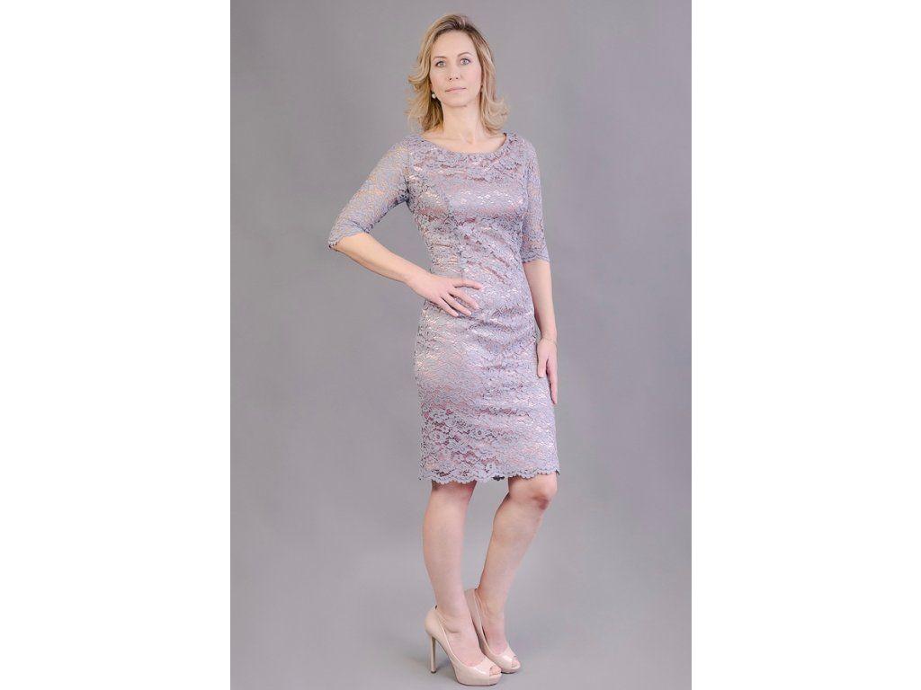 43ccdf8ba00 Šedo-růžové krajkové pouzdrové šaty elegantní pouzdrové šaty z šedé krajky  podklad pod krajkou je v pudrově růžové barvě kulatý výstřih na předním i  zadním ...