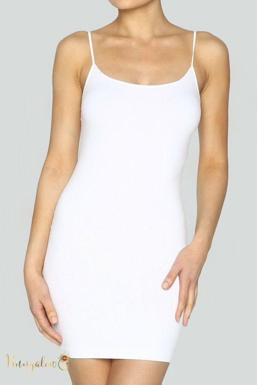 These Seamless Spaghetti Strap Underslips Are Super Soft Stretchy And Perfect To Go Under Sheer Dresses Or L White Slip Dress Camisole Dress