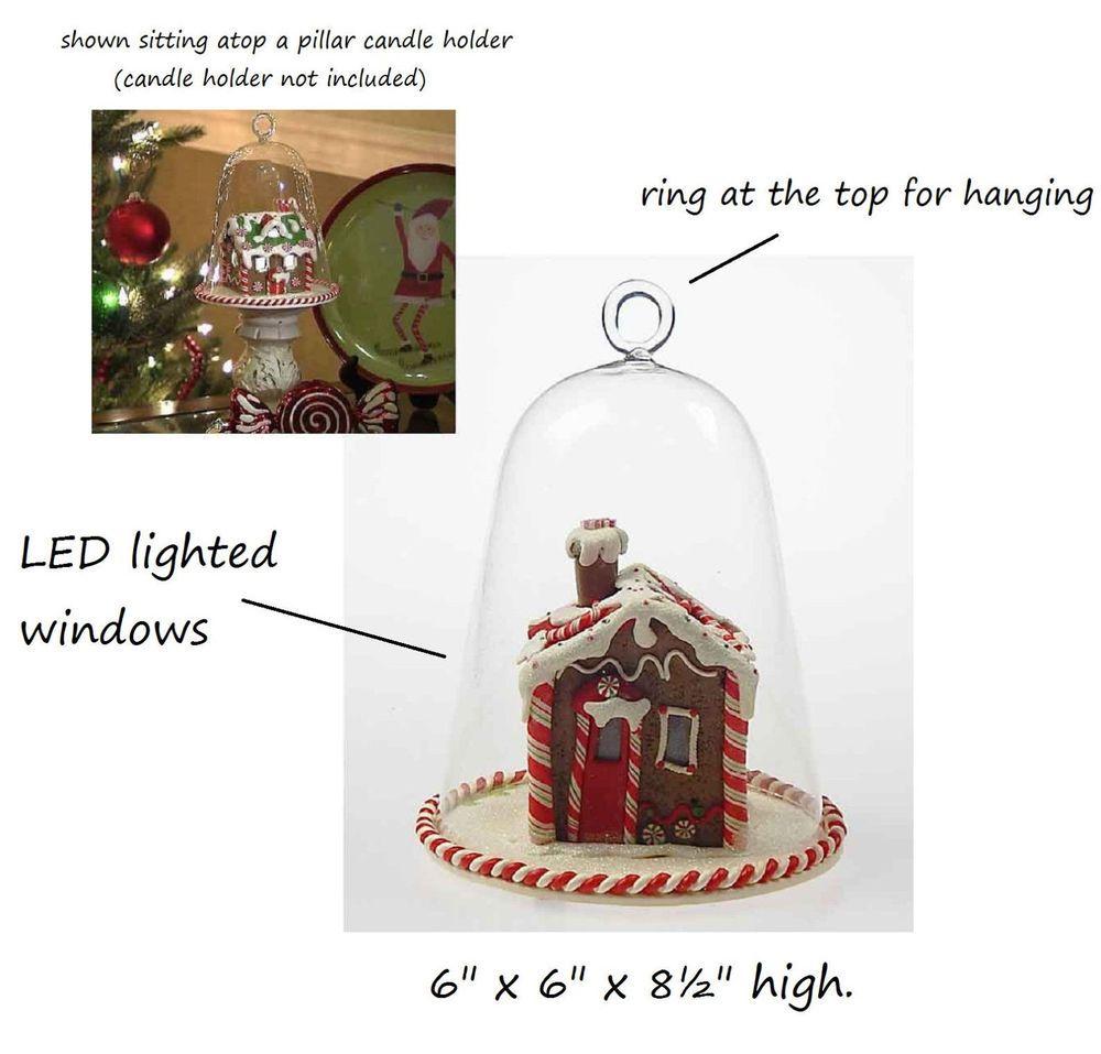 christmas scene LED light GINGERBREAD house CLOCHE dome ornament ...