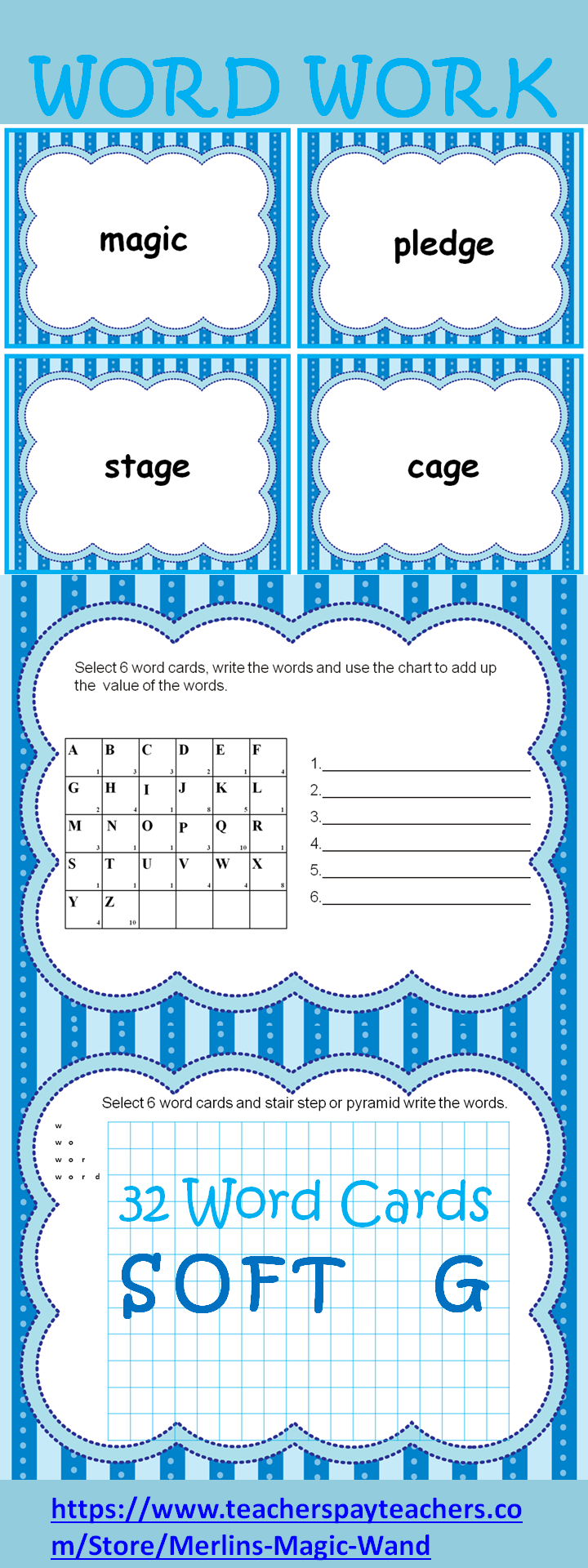 Workbooks soft g and c worksheets : Word Work Activity Center for Words with SOFT G 32 word cards 4 to ...