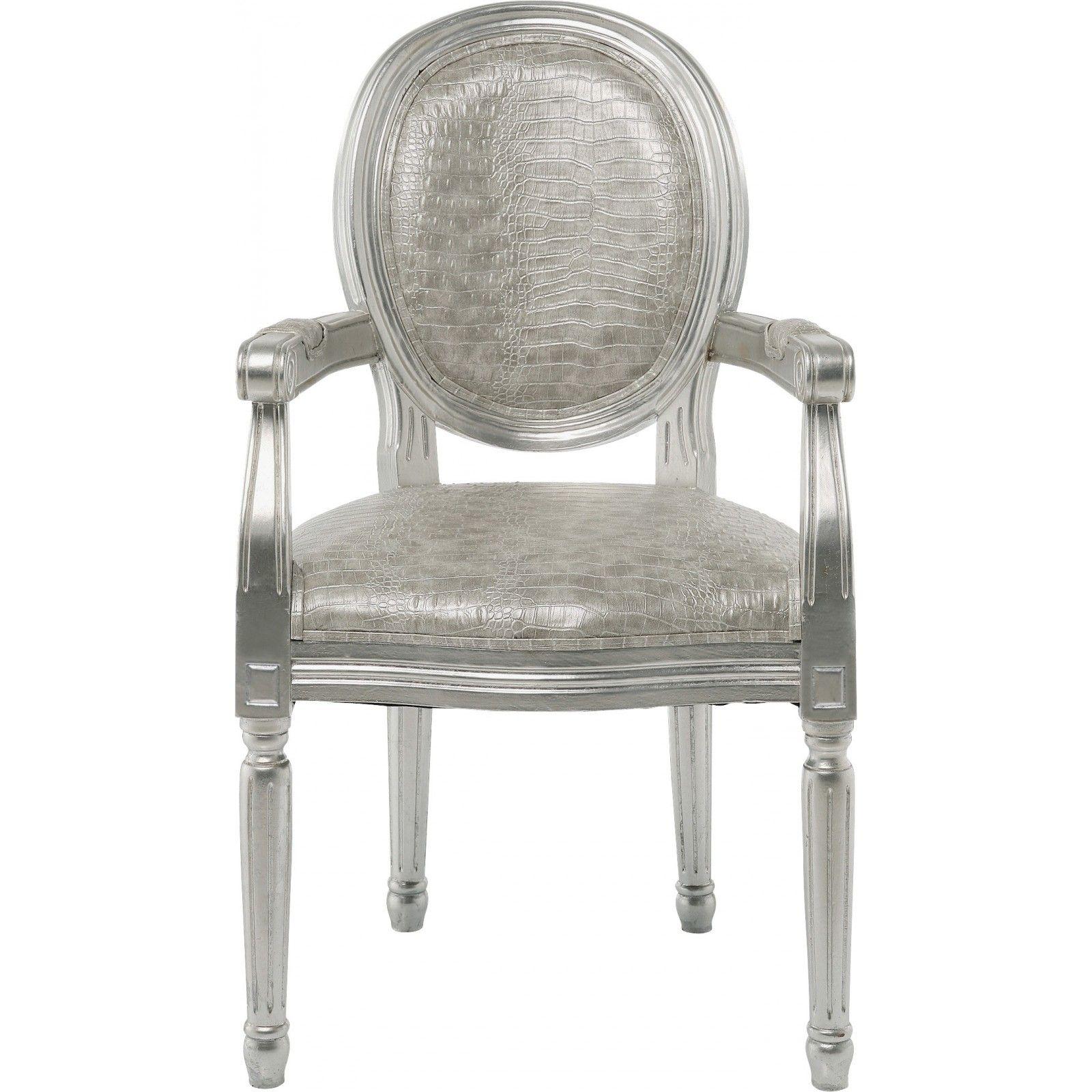 Chaise avec accoudoirs baroque argent - Louis - Kare Design