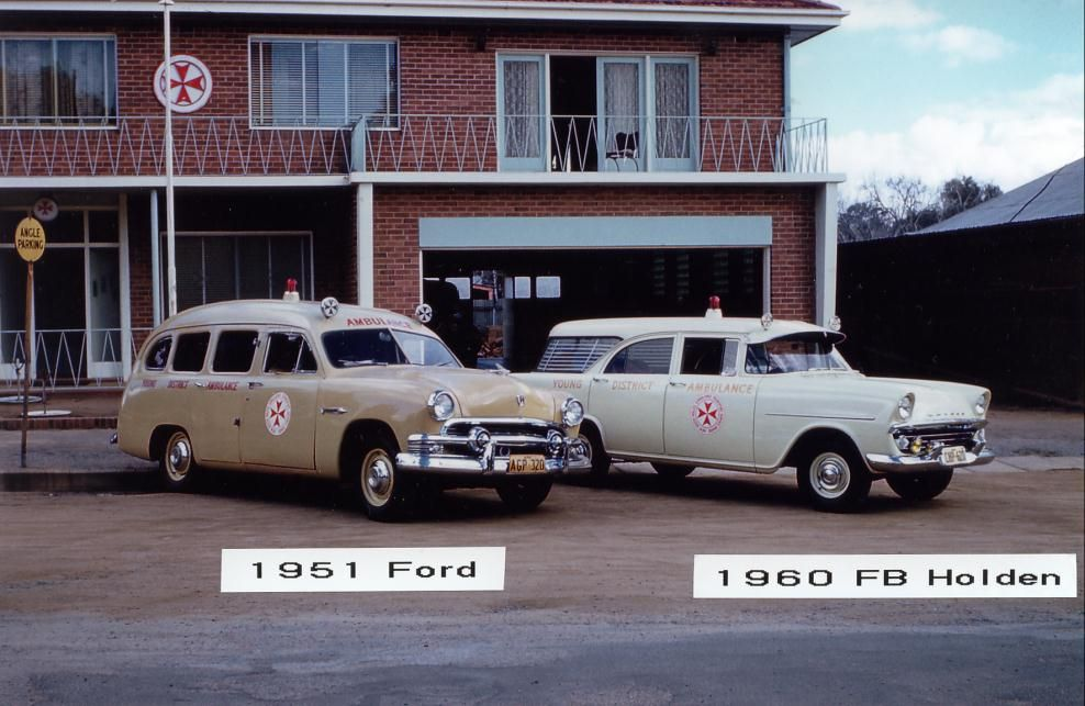 1951 ford and 1960 fb holden australian old police