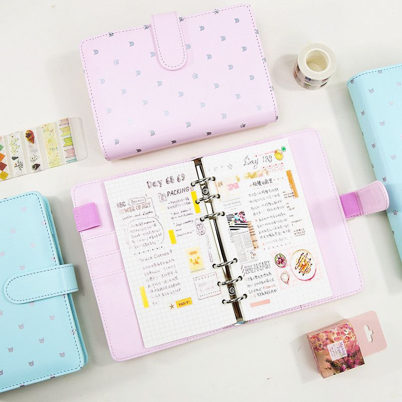 picture regarding Cute Planner Refills named watch low cost refillable dokibook macaron red mint cat paw