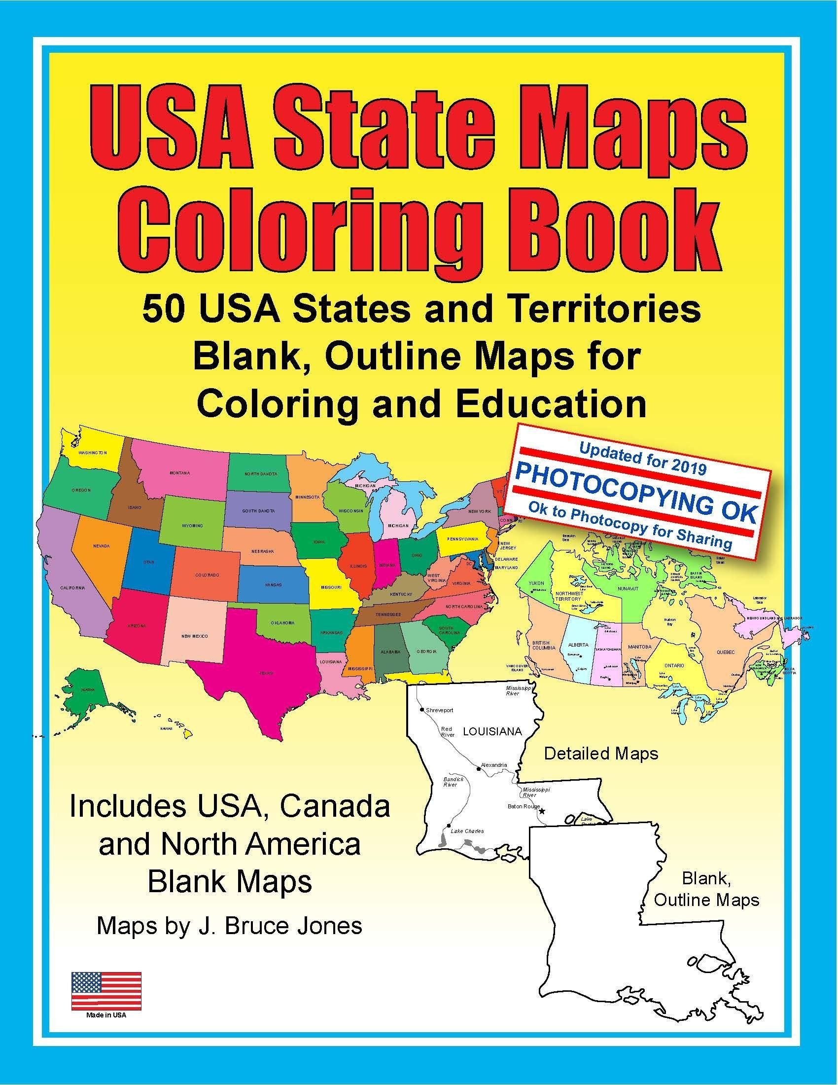 USA State Maps Coloring Book: 50 USA States and Territories ...
