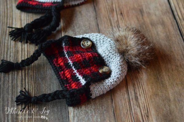 68add87d2 Crochet Baby Plaid Trapper Hat - Free Crochet Pattern   Caps4/Hats ...