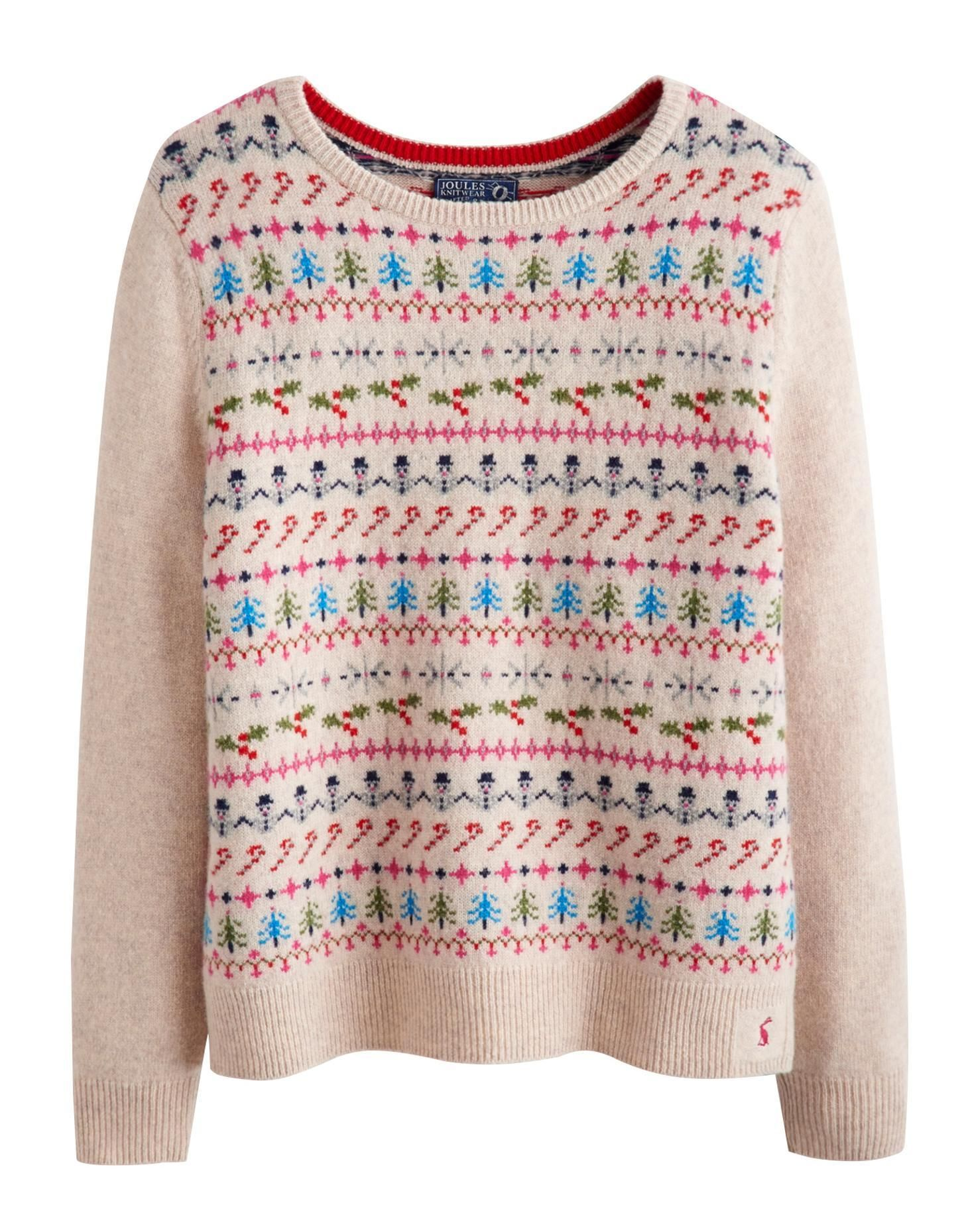 Joules Womens Christmas Intarsia Jumper, Light Grey. If you're looking for a