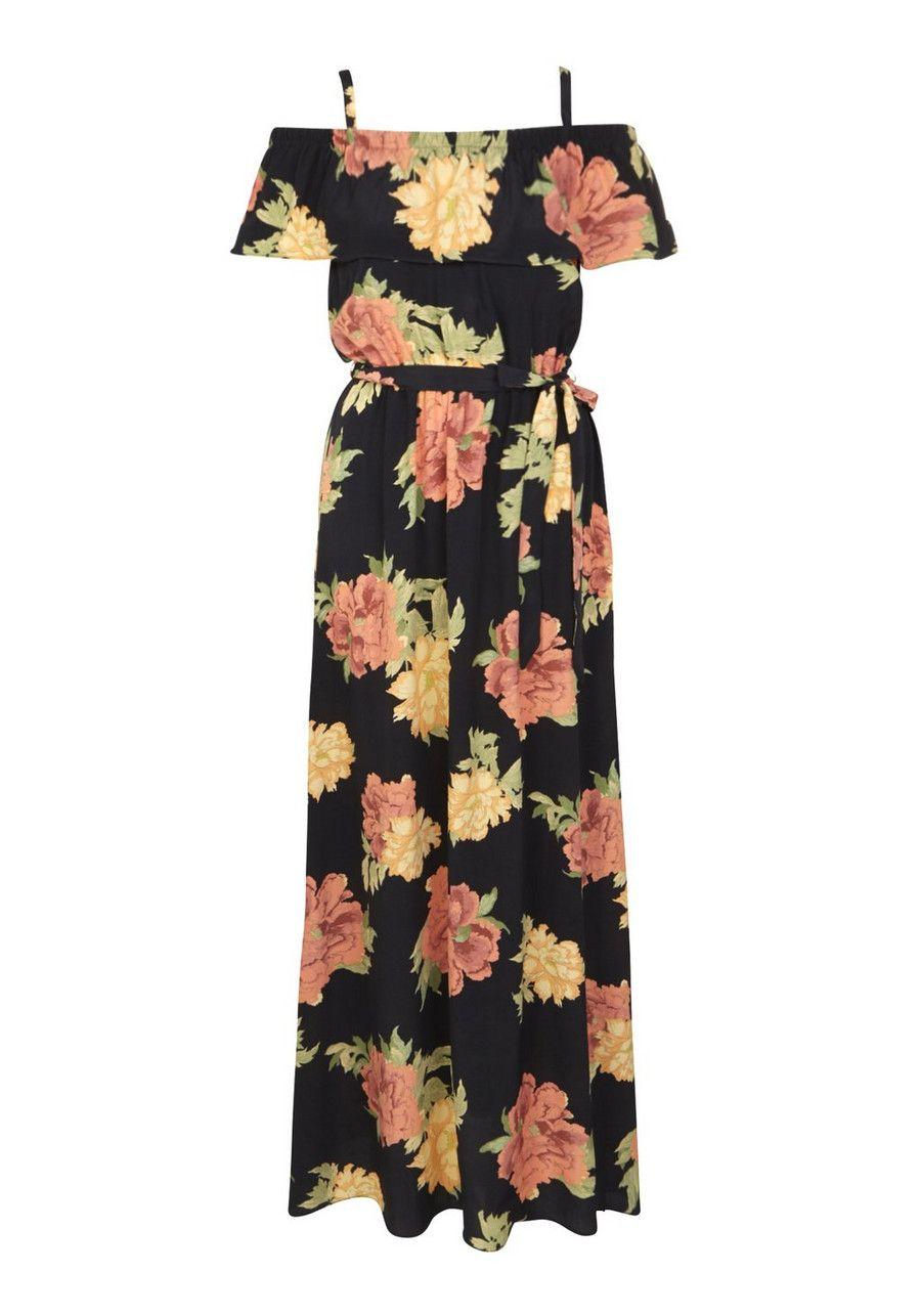 e5b997e5a165 Clothing at Tesco | F&F Floral Print Cold Shoulder Maxi Dress > dresses >  New In > Women