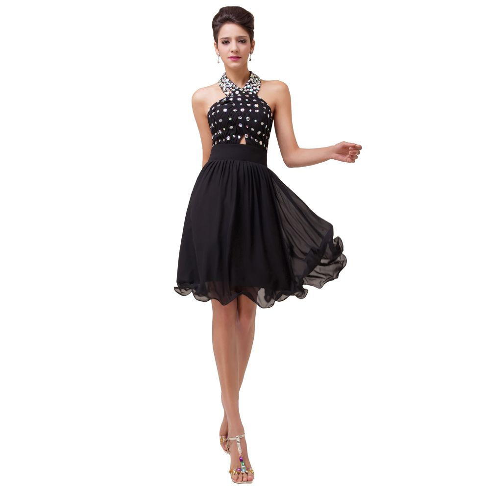 Free-Shipping-Knee-Length-Halter-Chiffon-Ball-Cocktail-Gown-Formal ...