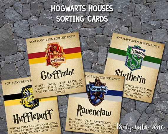 Harry Potter Hogwarts Houses Sorting Cards Party Favors Games
