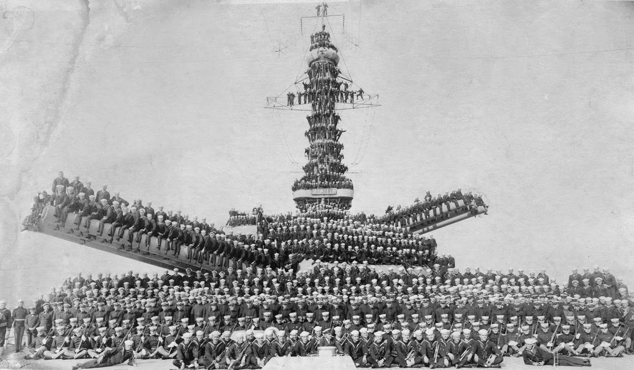 United States Marines And Sailors Posing On Unidentified Ship - Ship museums in us
