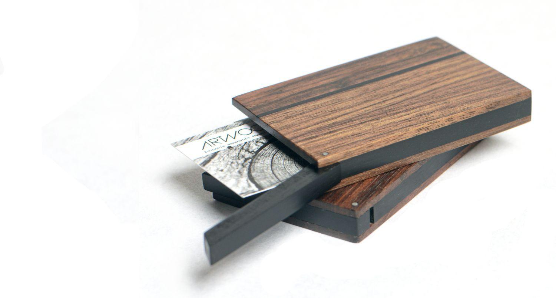 Visitenkartenetui Holz Dunkel Haushalt Visitenkartenetui