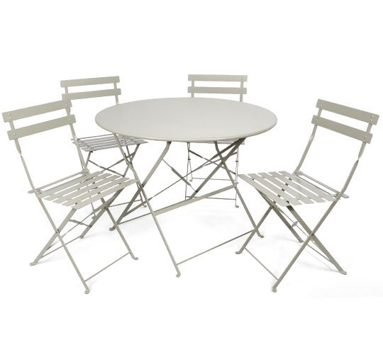 Salon de Jardin 4 personnes Table Pliante 95cm Pop Beige Mat ...