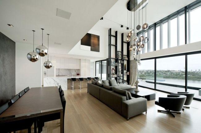 Offener Wohn Essbereich offener wohnbereich metall hängeleuchten wohn essbereich kugel