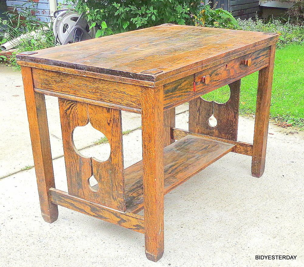 Arts and crafts style sofa - Large Antique Arts Crafts Mission Style Oak Library Table Desk Art Nouveau