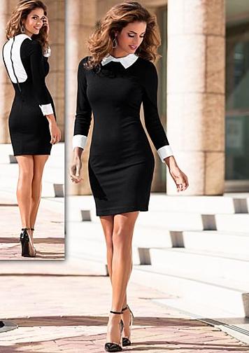 20e415274f9f Vestido Negro con Blanco con cuello manga larga | My Style ...