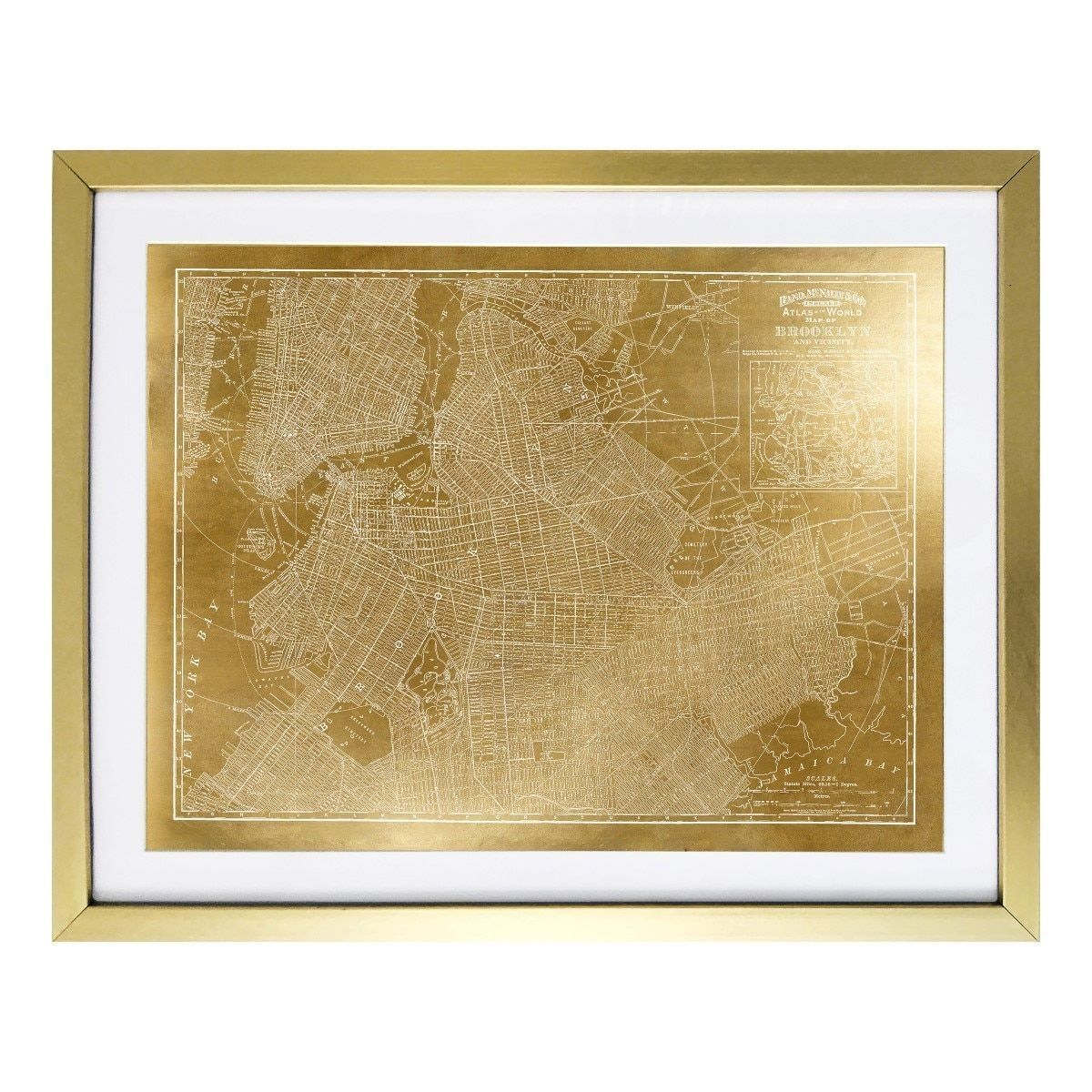 Wynwood studio brooklyn map 1891 foil framed art products wynwood studio brooklyn map 1891 foil framed art gumiabroncs Image collections