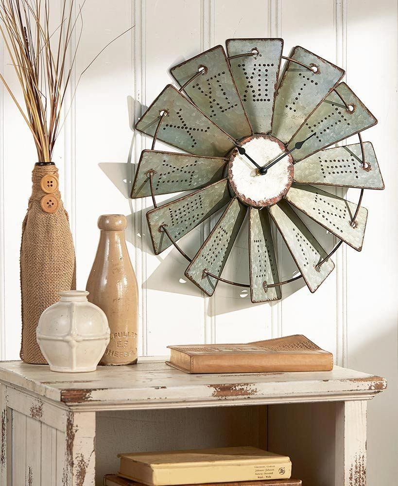 Metal Windmill Wall Clock 14 1 2 Rustic Wall Clocks Windmill Wall Clock Country Farmhouse Decor