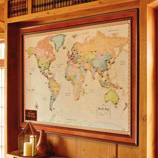 World Magnetic Travel Map With Burlwood Frame Travel Maps Framed Maps Map