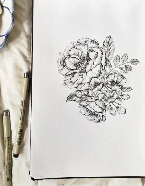 Peonies Botanical Floral Pen & Ink Hand Drawn Illustration | Etsy