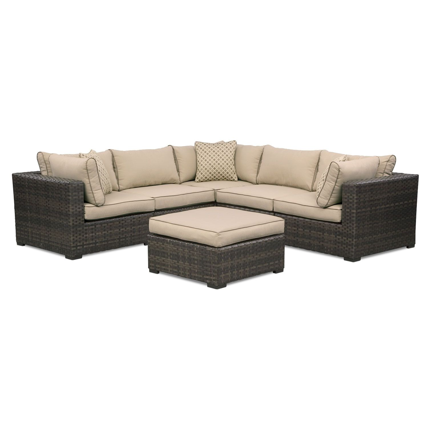 Out new patio line is sleek and of the best quality shop now outdoor furniture regatta 5 pc sectional and ottoman