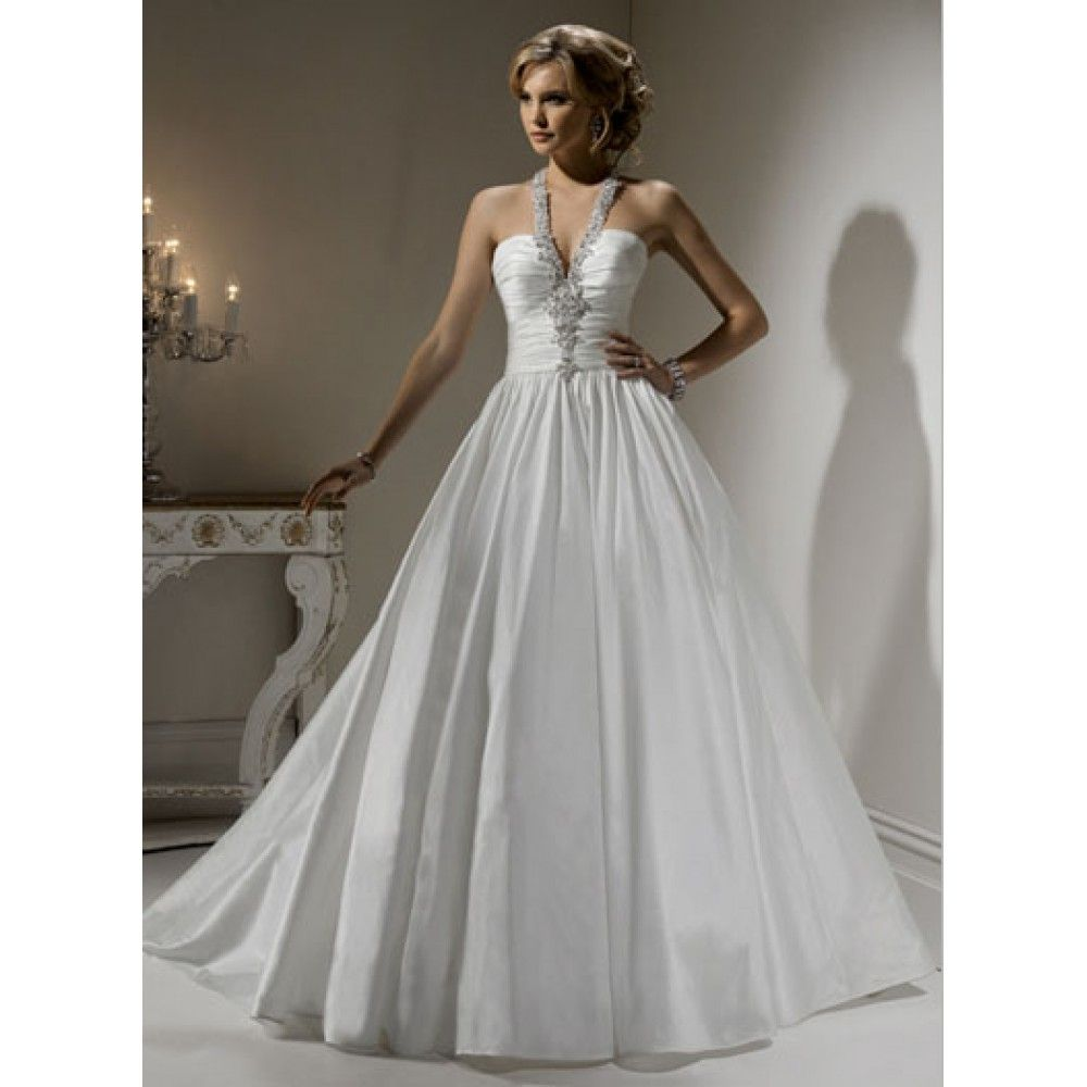 Wedding Dresses Ball Gown Halter Top Draped Satin Long