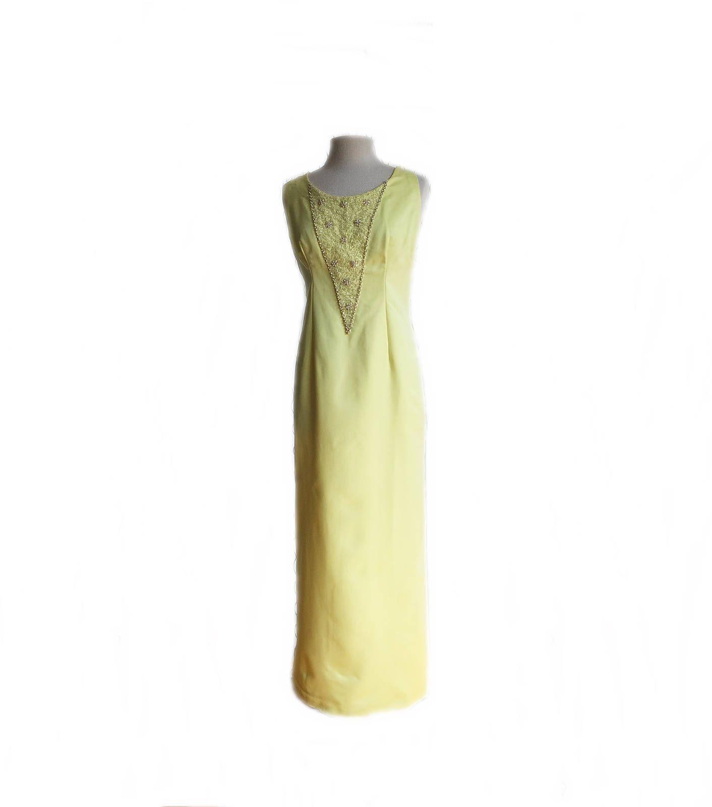 44f9491d105 Vintage 70s beaded lemon yellow gown  pastel yellow maxi dress  long  bridesmaid dress  pearl trim beaded panel  vintagedress  vintagefashion   vintage