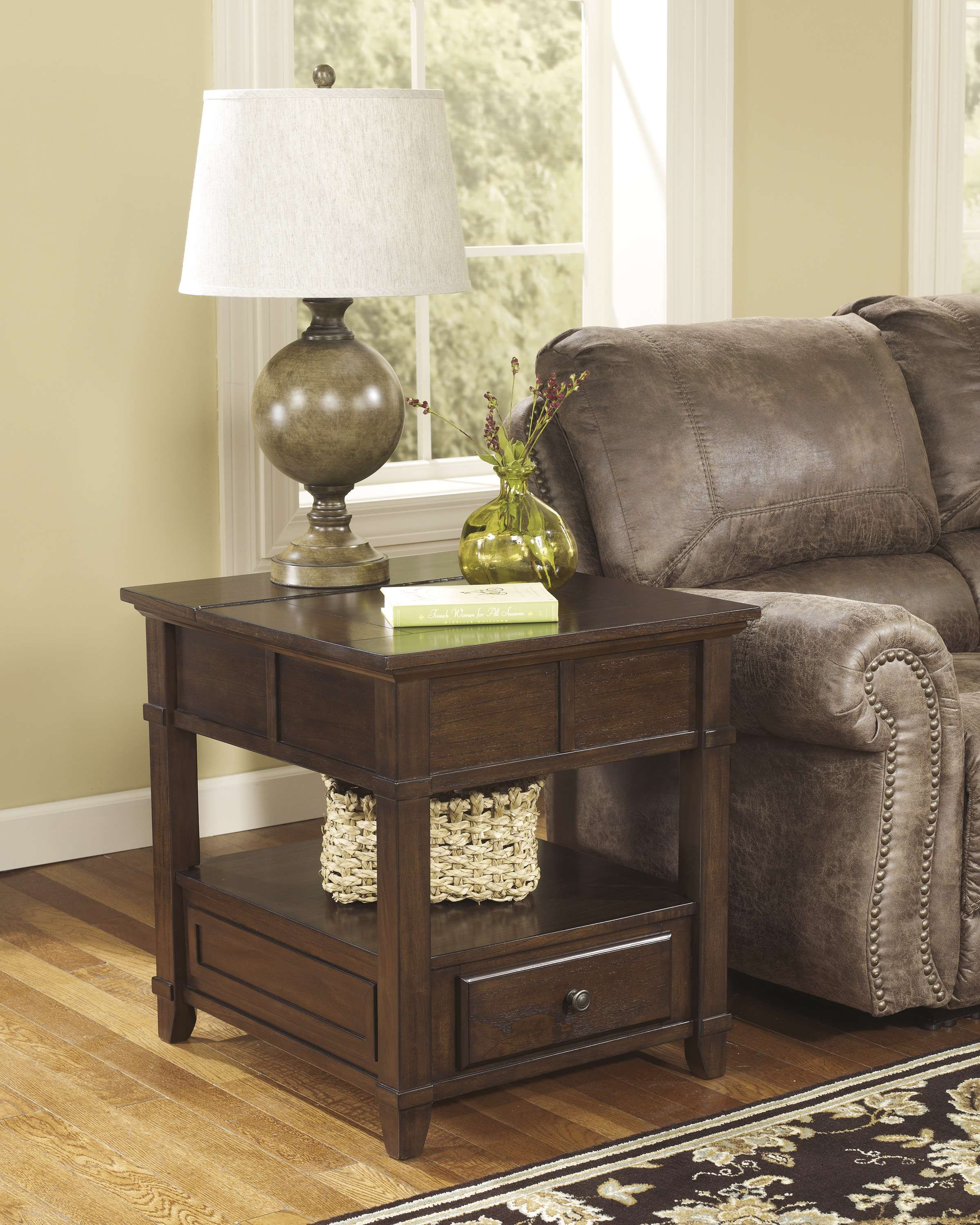 Lowest Price On Signature Design By Ashley Gately Medium Brown Rectangular End Table T845 3 Shop Today Sofa End Tables Furniture Ashley Furniture