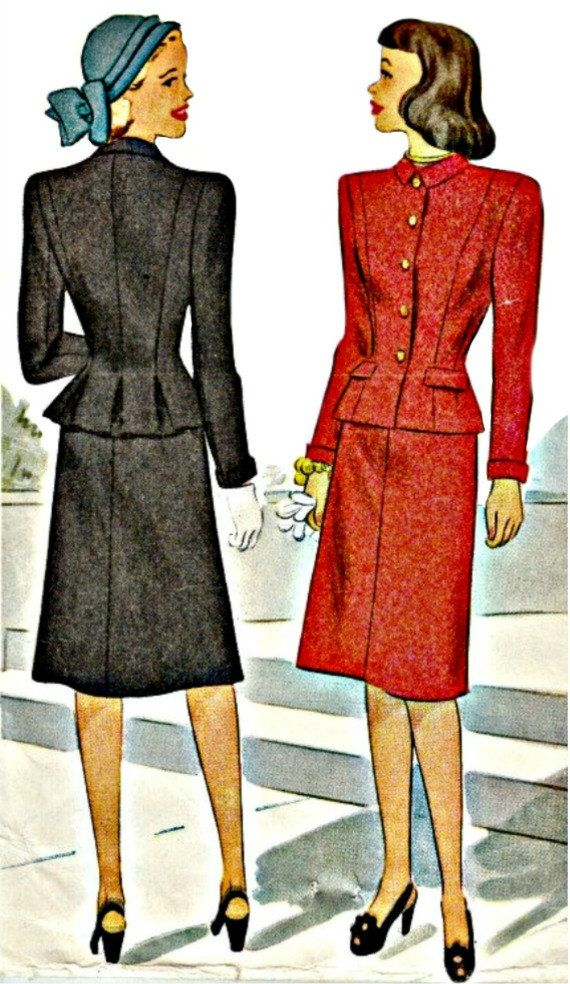 1946 Two-Piece Career Girl Suit with Peplum by ShellMakeYouFlip