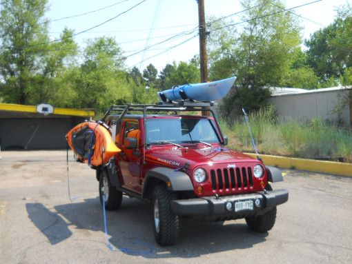 Jk With Two Kayaks Strapped To Top And Side Jeep Tj Jeep Life Jeep