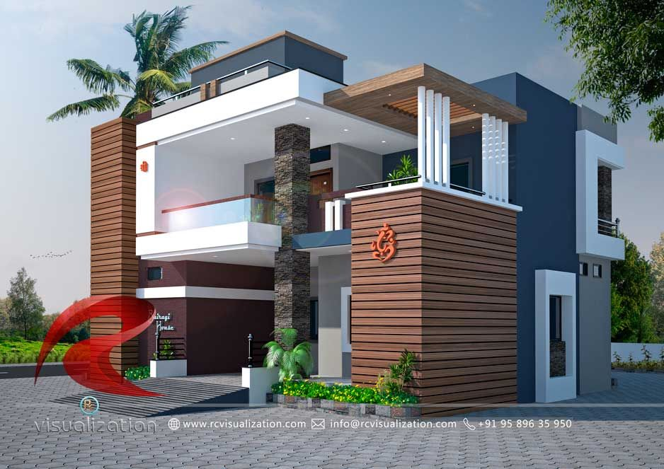 3d Bungalow Designs Gallery Rc Visualization Structural Plan And Elevation Designing Company House Outer Design Bungalow House Design Bungalow Design