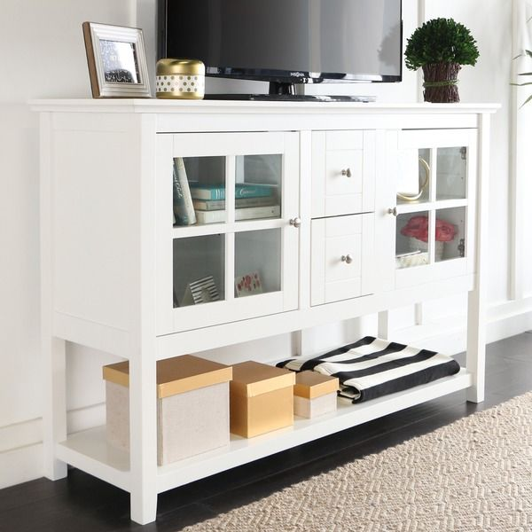 52 Inch White Wood Console Table Buffet Overstock
