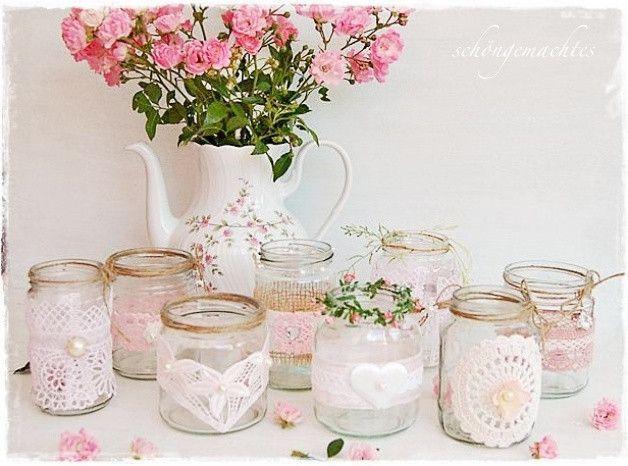 Hochzeitsdeko Windlicht Vase Rosa Hochzeitsdeko Vintage Shabby