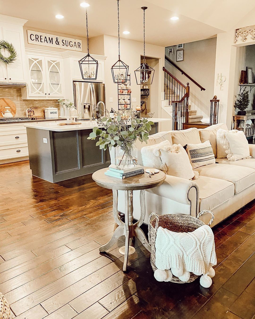 Here S An Open Concept Livingroom Kitchen Space We Think Is Sure To I In 2020 Farm House Living Room Open Concept Kitchen Living Room Living Room Dining Room Combo