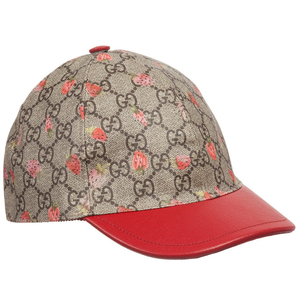 ef95eac8f Girls Beige 'GG' Cap with Red Strawberries   Amora's Clothes ...