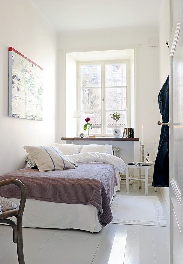 Minimalist White Tiny Bedroom Ideas With White Bed And Bedside Table Under White Framed Window