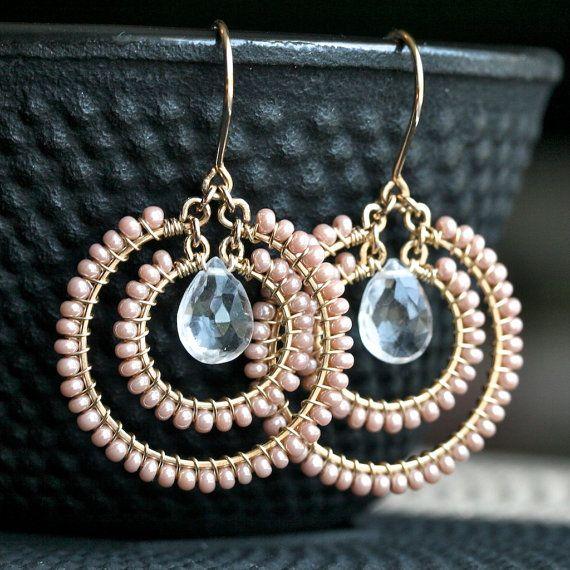 Handmade pink earrings, seed bead, beaded earrings, wire wrapped, hoop earrings, 14k gold filled, Mimi Michele Jewelry