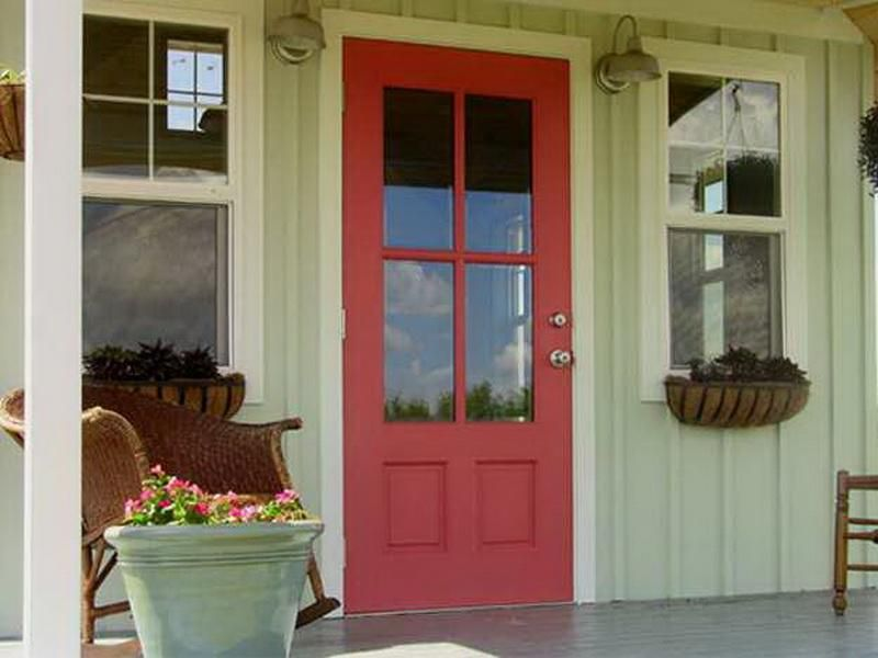 Paint Colors For Front Doors red front door on a light green house. | red front door