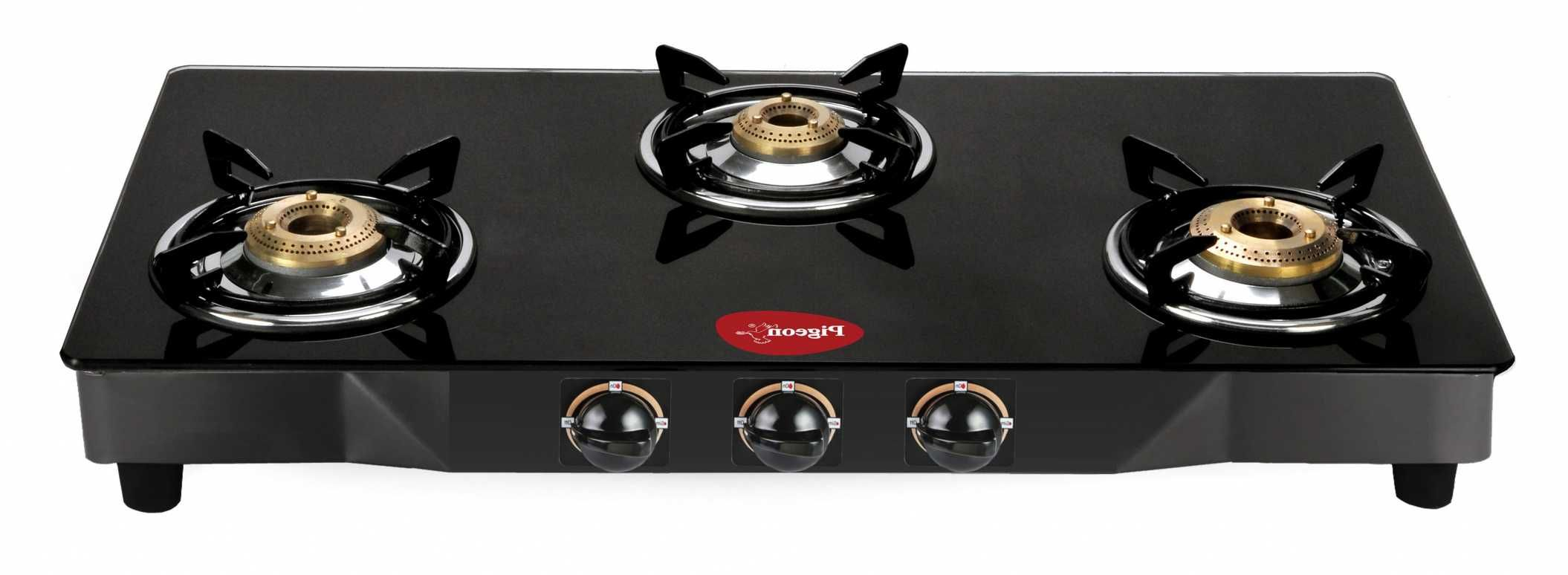 pigeon black line square 3 burner glass manual gas stove price in