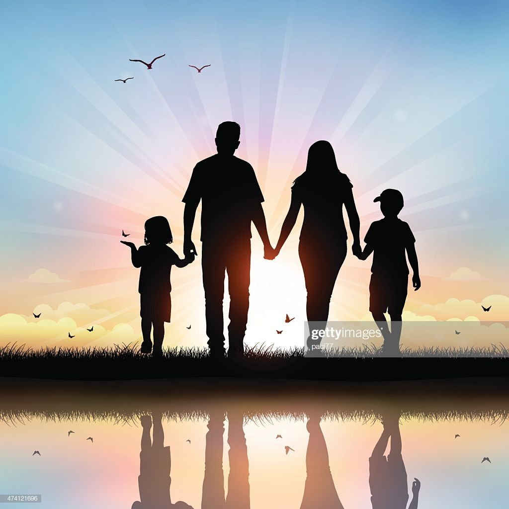 Vector Illustration Silhouettes Of Happy Family Walking At Sunset Silhouette Family Family Illustration Family Picture Poses