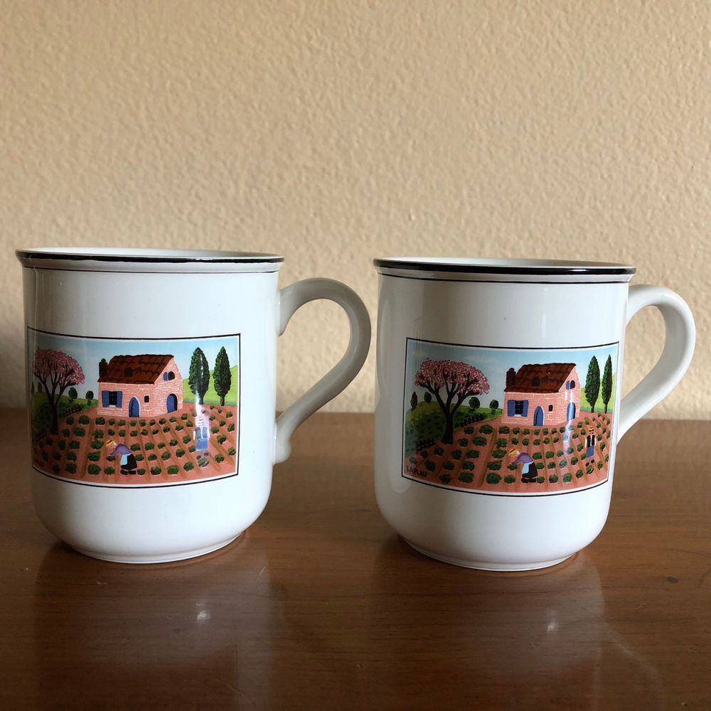 Two (2) Villeroy & Boch Design Naif Countryside Mugs Pristine Preowned Condition #VilleroyandBoch #Country