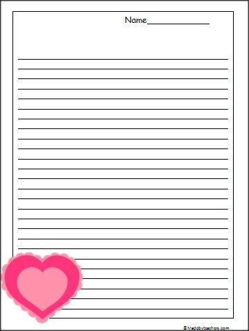 This Is Heart Themed Writing Paper Available Free On Madebyteachers The Lines Are College Ruled