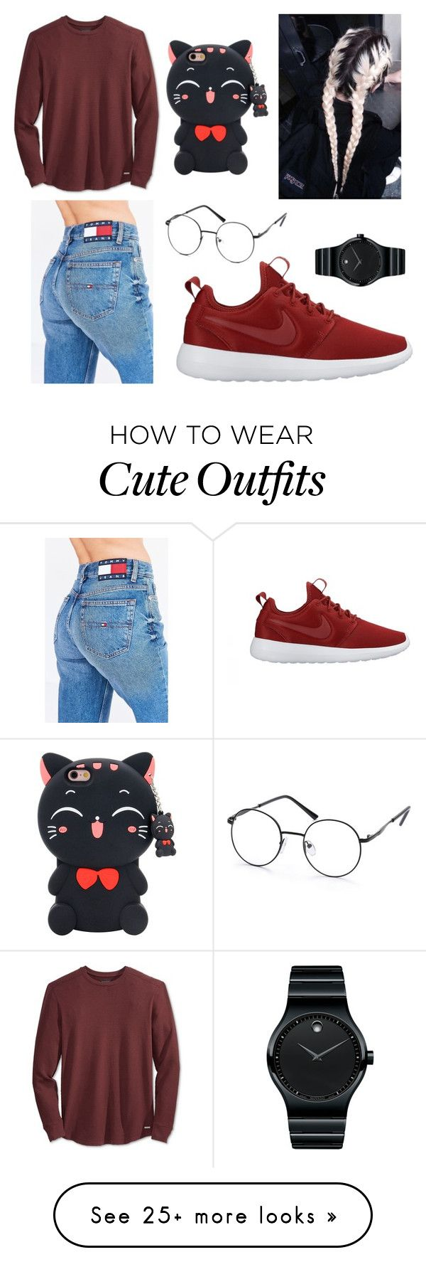 """""""Untitled #291"""" by callmekelsey on Polyvore featuring Tommy Hilfiger, GUESS, NIKE and Movado"""