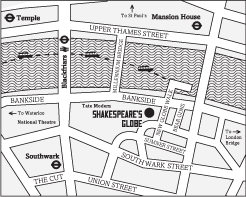 Location Map of Shakespeare's Globe Theatre in London