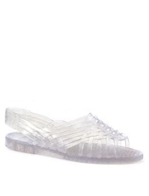 7b6d960ce132 JuJu Clear Glitter Lattice Petra Jelly Sandals