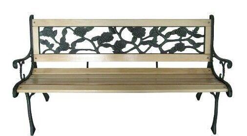 Wooden Garden Bench Hardwood Seats 3 Green Age Look Cast Iron
