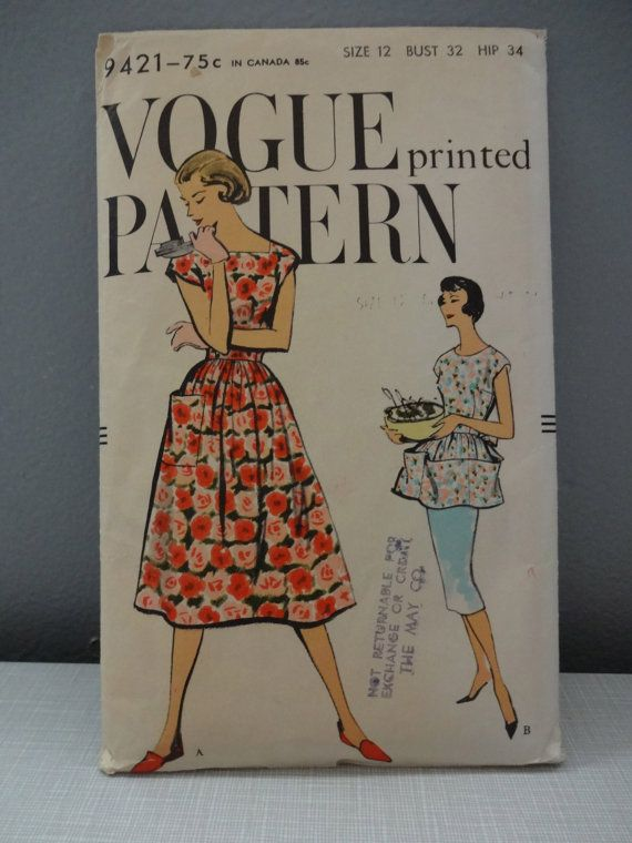 Vintage 1950s Vogue 9421 Sewing Pattern - Misses One Piece Wrap ...